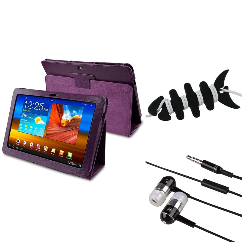 Purple Case/ Wrap/ Headset For Samsung Galaxy Tab P7500 10.1-inch
