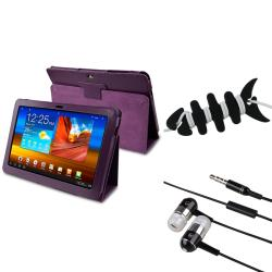 Purple Case/ Wrap/ Headset For Samsung Galaxy Tab P7500 10.1-inch