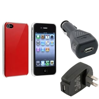 Shiny Red Case/ Travel Charger/ Car Charger for Apple iPhone 4/ 4S
