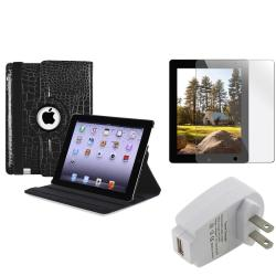 Black Swivel Case/ Screen Protector/ Travel Charger for Apple iPad 2