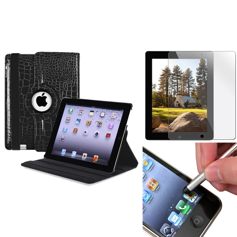 Black Leather Swivel Case/ Screen Protector/ Stylus for Apple iPad 2