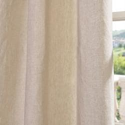EFF Signature Beige French Linen Sheer Curtain Panel