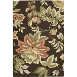 "Nourison Hand-Hooked Fantasy Brown Floral Rug (5' x 7'6"")"