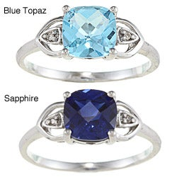 Sofia 10k White Gold Blue Topaz/ Created Sapphire and Diamond Accent Ring