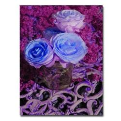 Patty Tuggle 'Blue and Pink Roses' Canvas Art (Refurbished)