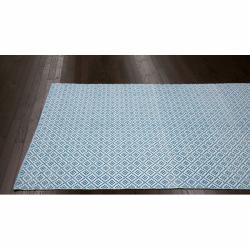 nuLOOM Handmade Flatweave Moroccan Trellis Blue Cotton Rug (8' x 10')