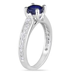 Miadora 14k White Gold 1ct TGW Sapphire and 1/3ct TDW Diamond Ring (G-H, SI1-SI2)