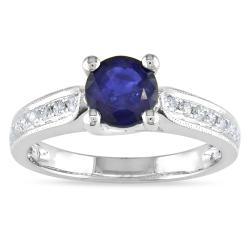 Miadora 14k White Gold 1ct TGW Sapphire and 1/3ct TDW Diamond Ring (G-H, SI1-SI2)