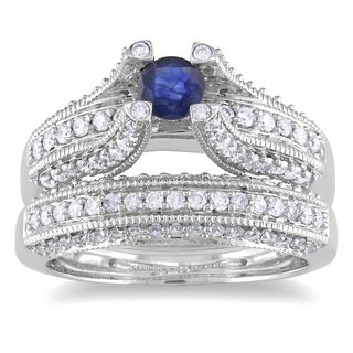 Miadora 14k White Gold 1/3ct TGW Sapphire and 4/5ct TDW Diamond Bridal Ring Set (G-H, I1)