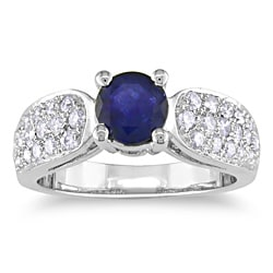 Miadora 14k White Gold 1ct TGW Sapphire and 1/2ct TDW Diamond Ring (G-H, SI1-SI2)
