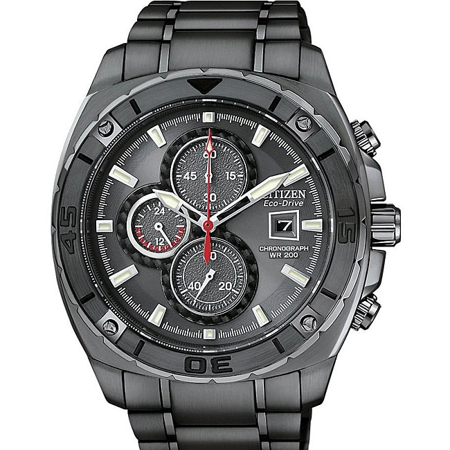 Citizen Men's Eco-Drive Black-Dial Stainless-Steel Watch