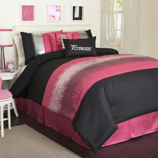 Lush Decor Black/Pink Night Sky 6-piece Comforter Set