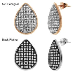 Sterling Silver Cubic Zirconia Pave Tear Drop Earring