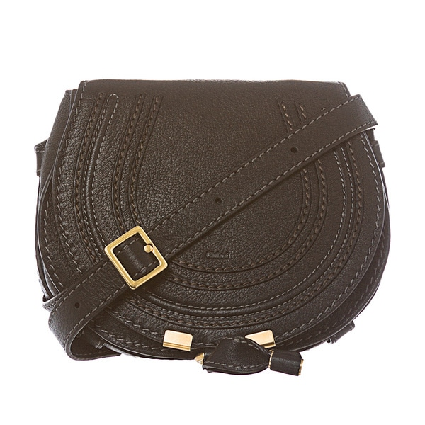 Chloe \u0026#39;Marcie\u0026#39; Mini Black Leather Saddle Bag - 14359536 ...