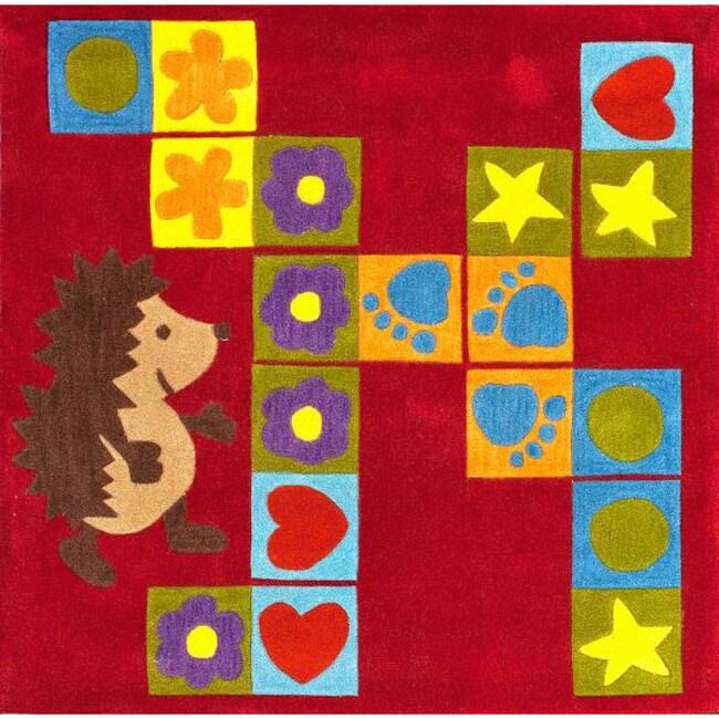 nuLOOM Handmade Kids Blocks Red Rug (4'3 Square)