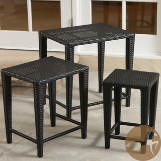 Christopher Knight Home Outdoor Black Wicker Nested Tables (Set of 3)