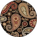 Infinity Collection Black Area Rug (5'3 Round)