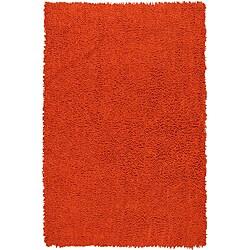 Hand Woven Shagadelic Orange Chenille Shag Rug (2'5 x 4'6)