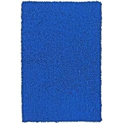 Hand Woven Shagadelic Neon Blue Chenille Shag Rug 4' x 6'