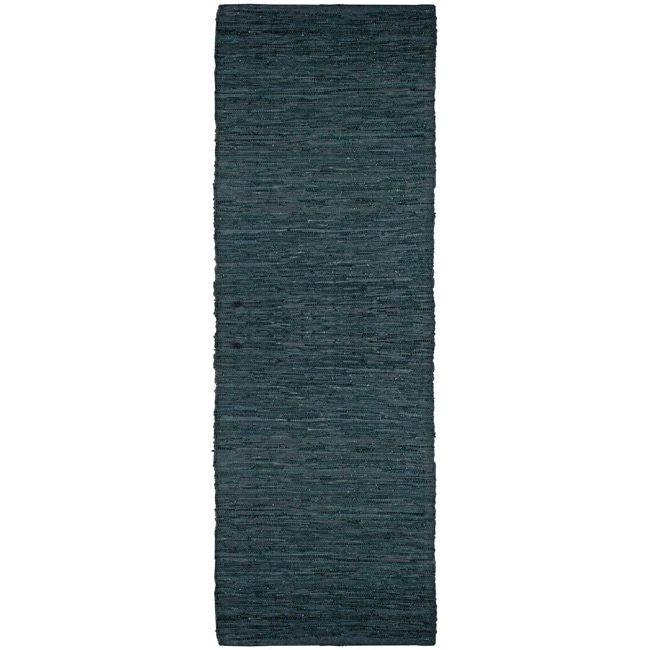 Hand-woven Matador Black Leather Runner Rug (2'6 x 12')