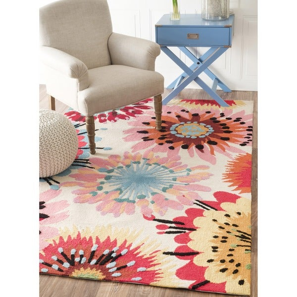 nuLOOM Handmade Modern Abstract Floral Rug (7'6 x 9'6)
