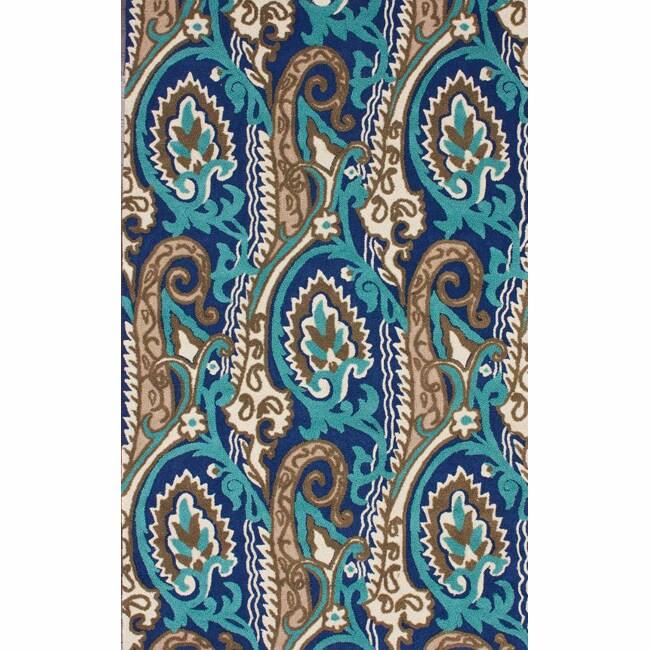nuLOOM Handmade Modern Ikat Blue Rug (7'6 x 9'6)