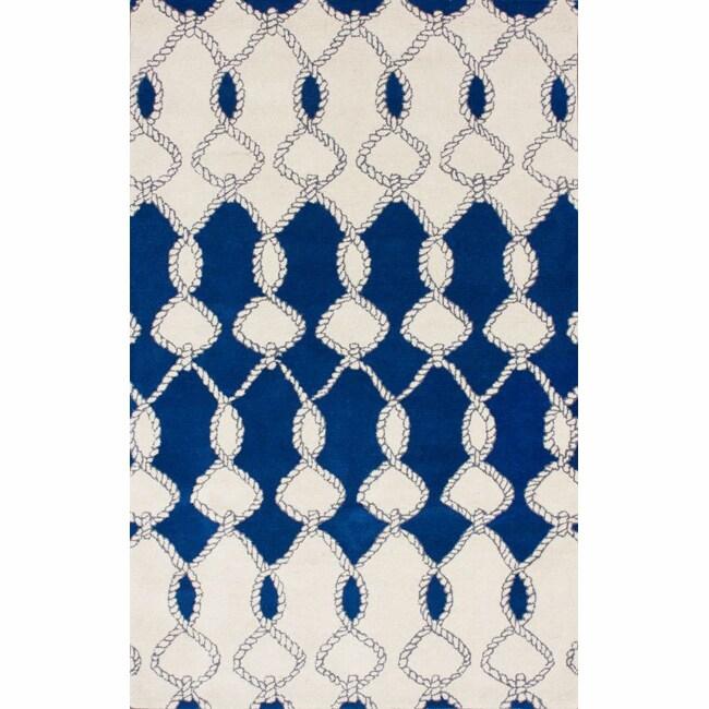 nuLOOM Handmade Twisted Trellis Blue Wool Rug (5' x 8')