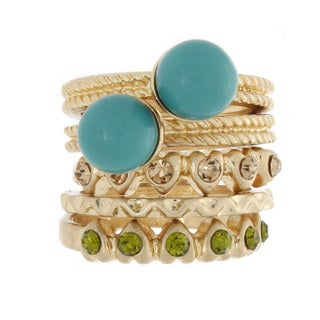 Nexte Jewelry Stackable Five-piece Gold-plated Metal Gemstone Ring Set