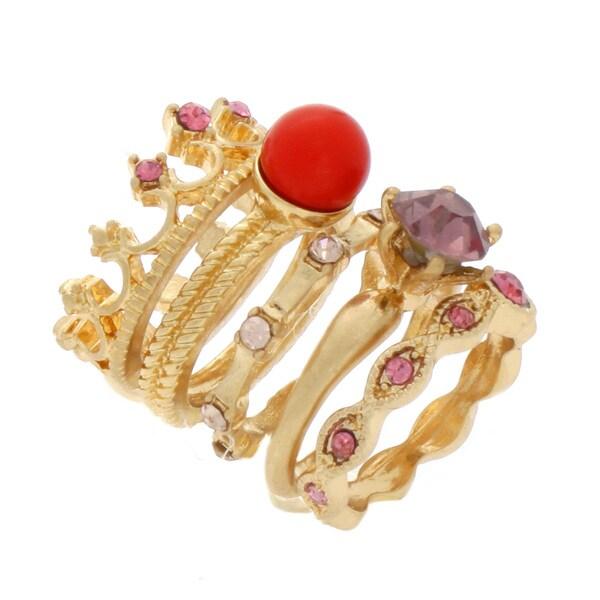 Nexte Jewelry Princess Crown Five-piece Stackable Ring Set
