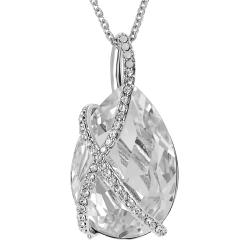 Journee Collection Silvertone Large Crystal Drop Necklace