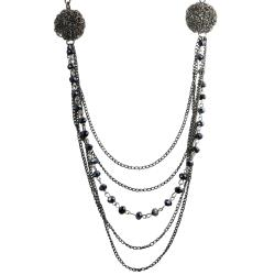 Journee Collection Gunmetal Mixed Chain Metallic Blue Crystal Necklace