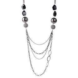 Journee Collection Silvertone Black Chain, Crystal and Ball Necklace