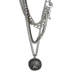 Journee Collection Silvertone Crystal Key Roman Caesar Coin Necklace