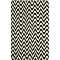 Safavieh Hand-woven Moroccan Reversible Dhurrie Chevron Black/ Ivory Wool Rug (9' x 12')