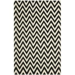 Safavieh Hand-woven Moroccan Reversible Dhurrie Chevron Black/ Ivory Wool Rug (8' x 10')