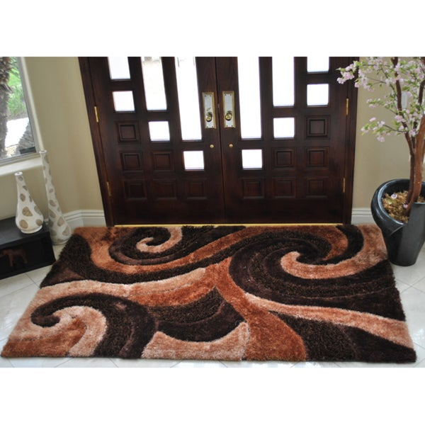 EverRouge 3D Poly Silk Swirl Area Rug (5'x8')