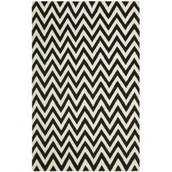 Safavieh Hand-woven Moroccan Reversible Dhurrie Chevron Black/ Ivory Wool Rug (4' x 6')