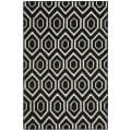 Safavieh Contemporary Moroccan Reversible Dhurrie Black/Ivory Wool Rug (5' x 8')