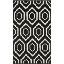 Safavieh Moroccan Reversible Dhurrie Black/Ivory Wool Area Rug (3' x 5')