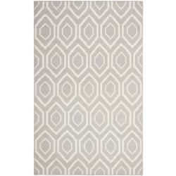 Moroccan Dhurrie Transitional Gray/Ivory Wool Rug (5' x 8')