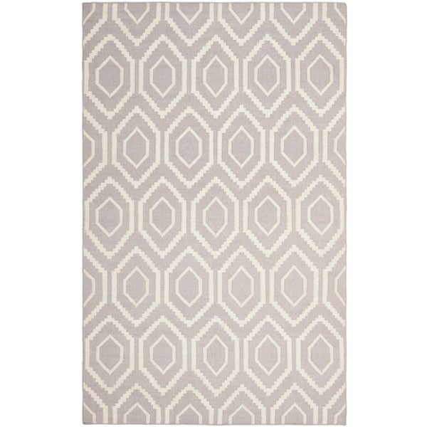 Safavieh Moroccan Reversible Dhurrie Transitional Grey/Ivory Wool Rug (5' x 8')