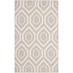 Safavieh Moroccan Reversible Dhurrie Grey/Ivory Pure Wool Rug (3' x 5')