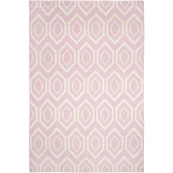 Safavieh Hand-woven Moroccan Reversible Dhurrie Pink/ Ivory Wool Rug (6' x 9')