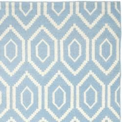 Safavieh Hand-woven Moroccan Dhurrie Blue/ Ivory Wool Rug (10' x 14')
