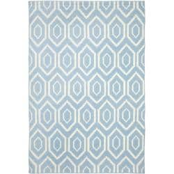 Safavieh Hand-woven Moroccan Reversible Dhurrie Blue/ Ivory Wool Rug (9' x 12')