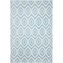 Safavieh Hand-woven Moroccan Reversible Dhurrie Blue/ Ivory Wool Rug (8' x 10')