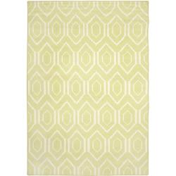 Safavieh Handwoven Moroccan Reversible Dhurrie Green/ Ivory Wool Area Rug (4' x 6')