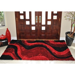 EverRouge Burgundy 3D Poly Silk Area Rug (5' x 8')