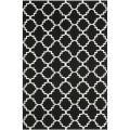 Moroccan Dhurrie Black/Ivory Wool Area Rug (9' x 12')