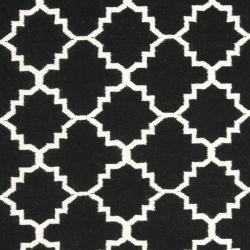 Moroccan Dhurrie Transitional Black/Ivory Wool Rug (6' x 9')